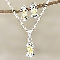 Rhodium-plated citrine jewelry set, 'Sunny Passion' - Rhodium-Plated Citrine Jewelry Set