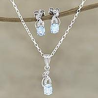 Rhodium-plated blue topaz and cubic zirconia jewelry set, 'Peppy in Blue' - Rhodium-Plated Blue Topaz and Cubic Zirconia Jewelry Set