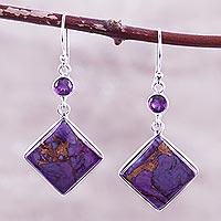 Amethyst dangle earrings, 'Purple Throne' - Sterling Silver and Amethyst Dangle Earrings