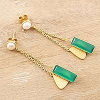 Gold-plated cultured pearl and onyx dangle earrings, 'Pandora's Treasure' - Gold-Plated Cultured Pearl and Onyx Dangle Earrings