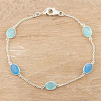 Chalcedony station bracelet, 'Aqua Balance' - Sterling Silver and Blue Chalcedony Station Bracelet
