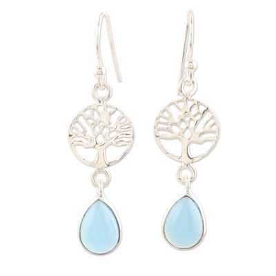 Chalcedony dangle earrings, 'Sky Tree' - Sterling Silver and Chalcedony Dangle Earrings