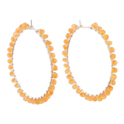 Carnelian hoop earrings, 'Carousel' - Sterling Hoop Earrings with Carnelian