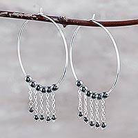 Hematite hoop earrings, 'Last Dance' - Indian Sterling Silver and Hematite Hoop Earrings