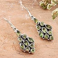 Peridot dangle earrings, 'Pale Green Sparkle' - Handmade Sterling Silver and Peridot Dangle Earrings
