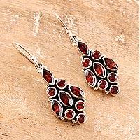 Garnet dangle earrings, 'Red Tower' - Handmade Sterling Silver and Garnet Dangle Earrings