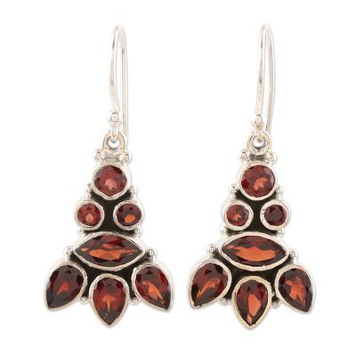 Garnet dangle earrings, 'Radiant Tower' - Sterling Silver and Garnet Dangle Earrings