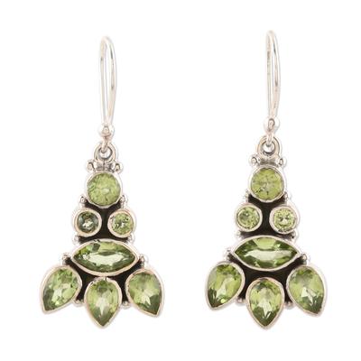 Peridot dangle earrings, 'Gleaming Tower' - Sterling Silver and Peridot Dangle Earrings
