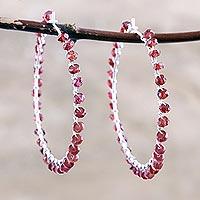 Garnet hoop earrings, 'Carousel' - Artisan Crafted Garnet Hoop Earrings