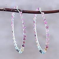 Tourmaline hoop earrings, 'Carousel' - Multicolored Tourmaline Hoop Earrings
