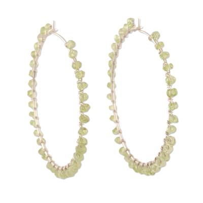 Peridot hoop earrings, 'Carousel' - Sterling and Peridot Hoop Earrings