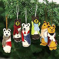 Wool holiday ornaments, 'Cozy Bear Pairs' (set of 6)
