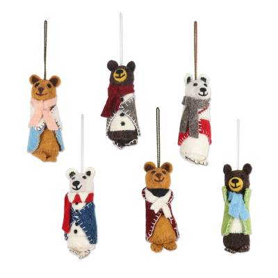 Wool holiday ornaments, 'Cozy Bear Pairs' (set of 6) - Wool and Glass Beaded Holiday Ornaments (Set of 6)