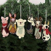 Wool holiday ornaments, 'Barnyard Bunch' (set of 6)