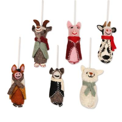 Wool holiday ornaments, 'Barnyard Bunch' (set of 6) - Embroidered Wool Animal Holiday Ornaments (Set of 6)
