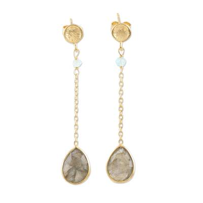 Gold-plated labradorite dangle earrings, 'After Dinner' - Hand Made Gold-Plated Labradorite Dangle Earrings