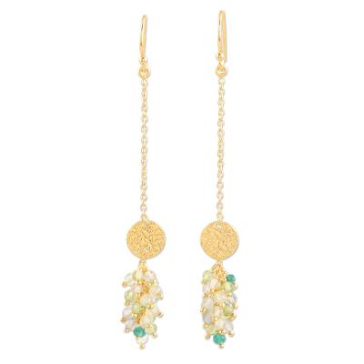 Gold-plated labradorite and onyx dangle earrings, 'Pure Luxury' - Gold-Plated Labradorite and Onyx Dangle Earrings