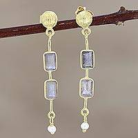Gold-plated labradorite and cultured pearl dangle earrings, 'New Year' - Gold-Plated Labradorite and Pearl Dangle Earrings