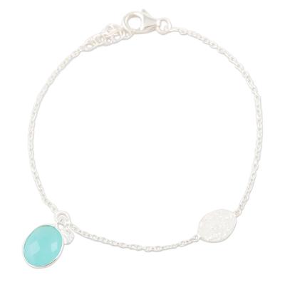 Chalcedony charm bracelet, 'Aqua Mirror' - Handmade Sterling Silver Chalcedony Charm Bracelet