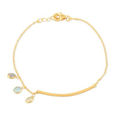 Gold-plated multi-gemstone charm bracelet, 'Light as Air' - Gold-Plated Chalcedony and Blue Topaz Charm Bracelet