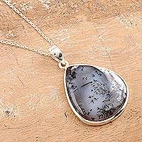 Dendritic agate pendant necklace, 'Forest Frond' - Sterling Silver Dendritic Agate Necklace
