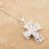 Rainbow moonstone pendant necklace, 'True Faith' - Sterling Silver and Rainbow Moonstone Cross Necklace