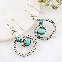 Sterling silver dangle earrings, 'Fancy Swirl' - Artisan Crafted Sterling Silver Dangle Earrings