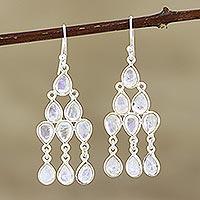 Rainbow moonstone chandelier earrings, 'Misty Cascade' - Sterling Silver and Rainbow Moonstone Chandelier Earrings