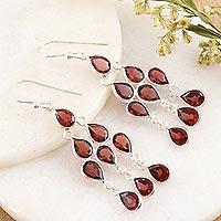 Garnet chandelier earrings, 'Radiant Waterfall' - Sterling Silver and Garnet Chandelier Earrings