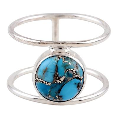 Sterling silver single stone ring, 'All Around the World' - Sterling Silver Single Stone Ring from India