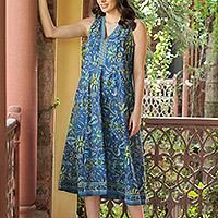 Printed cotton a-line dress, 'Blue Garden' - Cotton Floral-Motif Sleeveless A-Line Dress