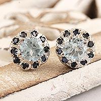 Rhodium-plated blue topaz and sapphire stud earrings, 'Blue Fire' - Rhodium-Plated Blue Topaz and Sapphire Stud Earrings