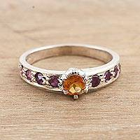 Citrine and ruby solitaire ring, 'Shimmering Union in Yellow' - Indian Citrine and Ruby Solitaire Ring