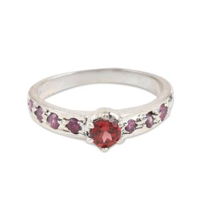 Garnet and ruby solitaire ring, 'Shimmering Union in Red' - Garnet and Ruby Solitaire Ring