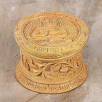 Decorative wood box, 'Buddha Charm'