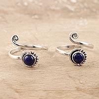 Lapis lazuli toe rings, 'Royal Eddy' (pair) - Sterling Silver and Lapis Lazuli Toe Rings (Pair)