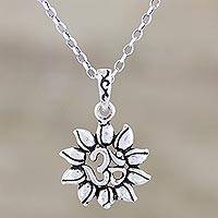 Sterling silver pendant necklace, 'Lotus Om' - Sterling Silver Lotus and Om Pendant Necklace