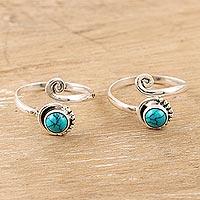 Sterling silver toe rings, 'Gemstone Spiral in Turquoise' (pair) - Indian Sterling Silver Toe Rings (Pair)