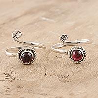 Garnet toe rings, 'Gemstone Spiral in Red' (pair) - Garnet and Sterling Silver Toe Rings (Pair)