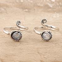 Rainbow moonstone toe rings, 'Gemstone Spiral in Mist' - Rainbow Moonstone and Sterling Silver Toe Rings (Pair)
