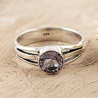 Amethyst single stone ring, 'Lilac Wish' - Amethyst and Sterling Silver Single Stone Ring