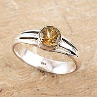Citrine single stone ring, 'Golden Wish' - Citrine and Sterling Silver Single Stone Ring