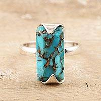 Sterling silver cocktail ring, 'Double Vision' - Hand Made Sterling Silver Cocktail Ring
