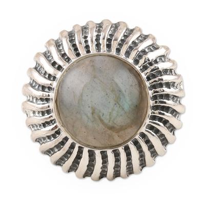 Labradorite cocktail ring, 'Evening Flames' - Sterling Silver and Labradorite Cocktail Ring