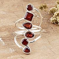Garnet cocktail ring, 'Math Class' - Sterling Silver and Garnet Cocktail Ring
