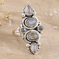 Labradorite and rainbow moonstone cocktail ring, 'Meet Cute' - Rainbow Moonstone and Labradorite Cocktail Ring