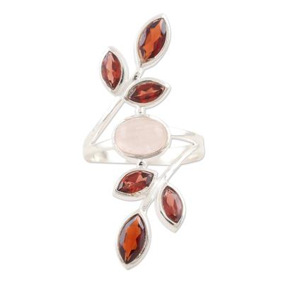 Garnet and rose quartz cocktail ring, 'Passion Tree' - Garnet and Rose Quartz Cocktail Ring