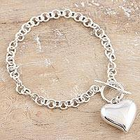 Sterling silver charm bracelet, 'Expectation of Love' - Sterling Silver Heart Charm Bracelet
