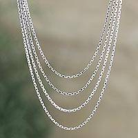 Sterling silver chain necklace, 'Modern Morning'