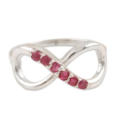 Ruby cocktail ring, 'Forever Pink' - Ruby Infinity-Motif Cocktail Ring